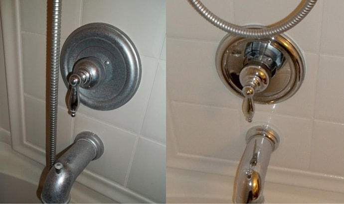 Remove stains from faucets