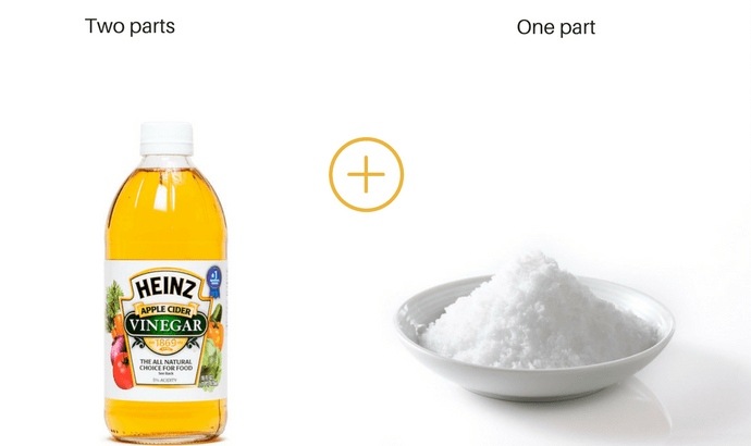 Blend two parts white vinegar and one part salt